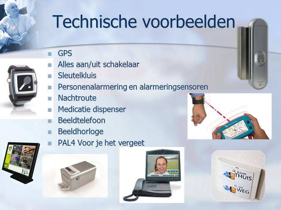 Technische voorbeelden GPS GPS Alles aan/uit schakelaar Alles aan/uit schakelaar Sleutelkluis Sleutelkluis Personenalarmering en alarmeringsensoren Pe