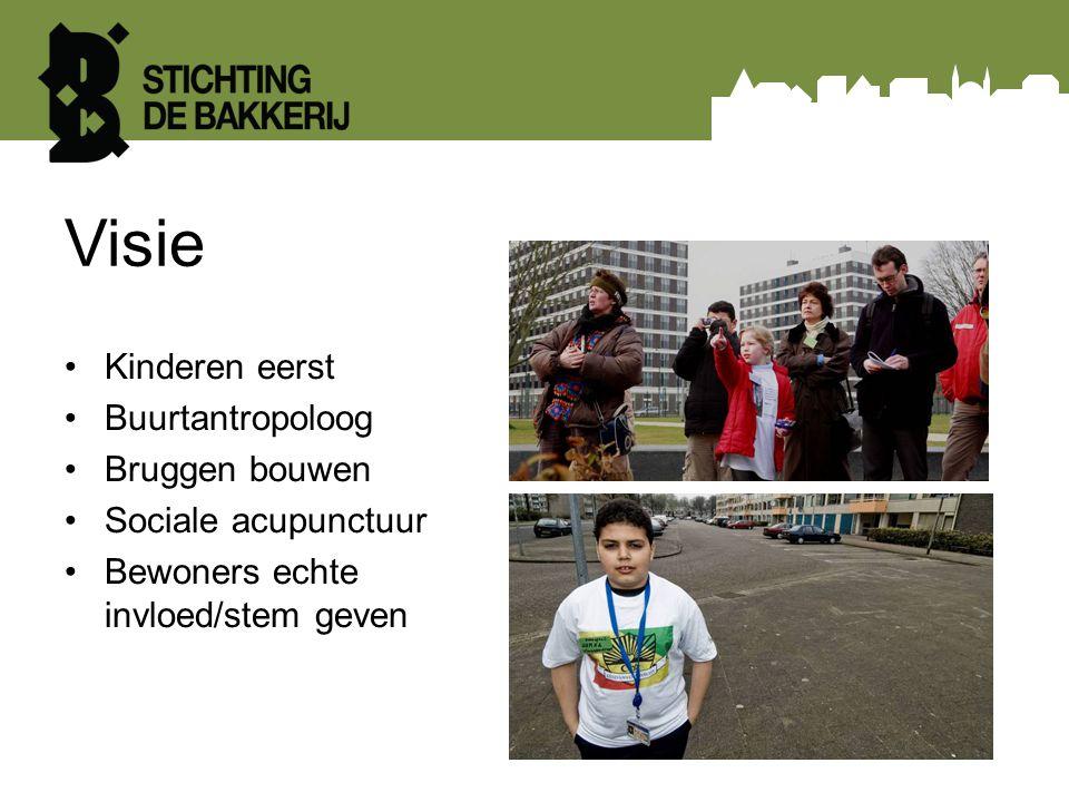 Visie Kinderen eerst Buurtantropoloog Bruggen bouwen Sociale acupunctuur Bewoners echte invloed/stem geven