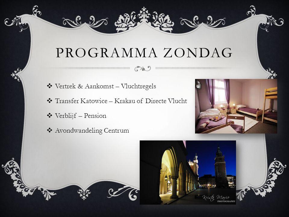 PROGRAMMA ZONDAG  Vertrek & Aankomst – Vluchtregels  Transfer Katowice – Krakau of Directe Vlucht  Verblijf – Pension  Avondwandeling Centrum