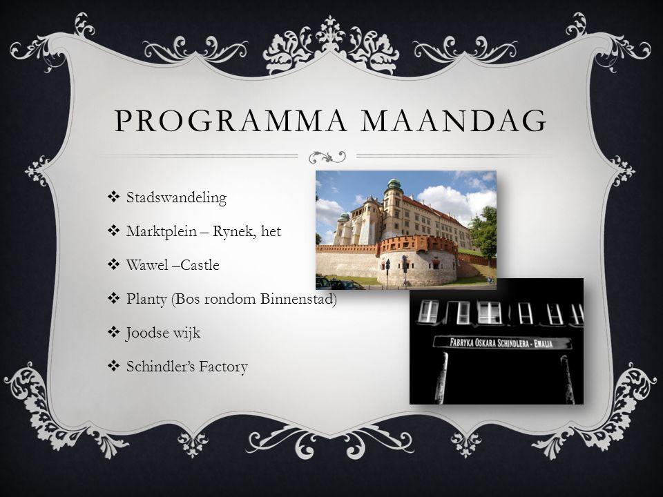 PROGRAMMA MAANDAG  Stadswandeling  Marktplein – Rynek, het  Wawel –Castle  Planty (Bos rondom Binnenstad)  Joodse wijk  Schindler's Factory