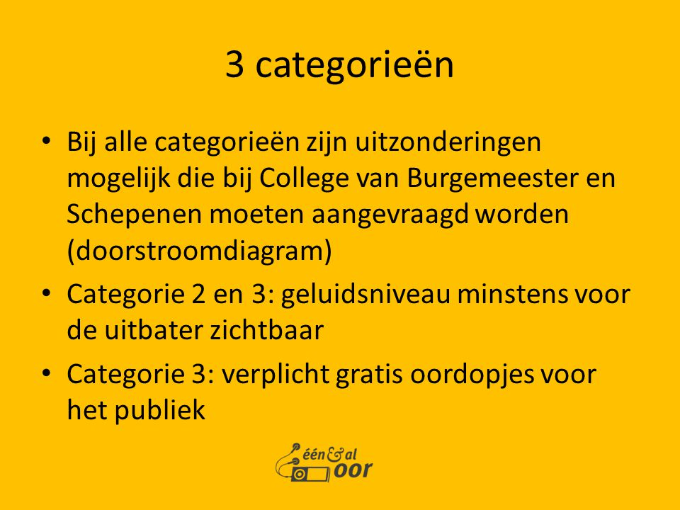 3 categorieën Bij alle categorieën zijn uitzonderingen mogelijk die bij College van Burgemeester en Schepenen moeten aangevraagd worden (doorstroomdia