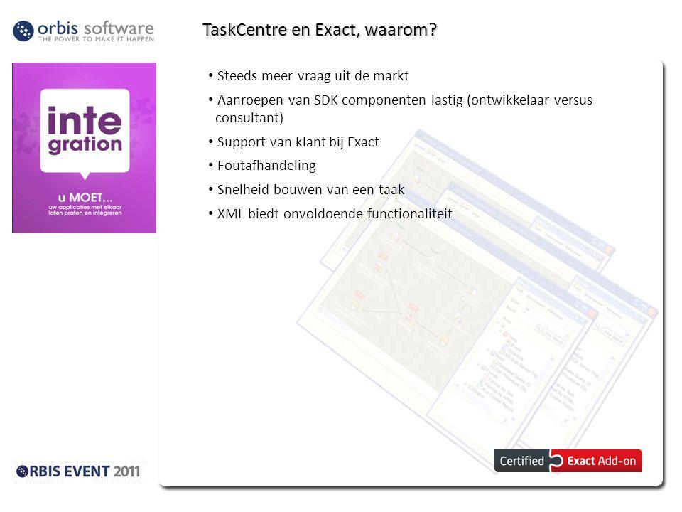 TaskCentre en Exact, waarom? Steeds meer vraag uit de markt Aanroepen van SDK componenten lastig (ontwikkelaar versus consultant) Support van klant bi