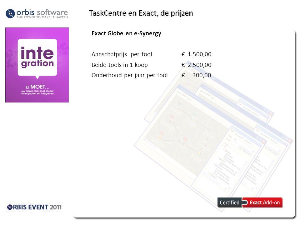 TaskCentre en Exact, de prijzen Exact Globe en e-Synergy Aanschafprijs per tool€ 1.500,00 Beide tools in 1 koop € 2.500,00 Onderhoud per jaar per tool
