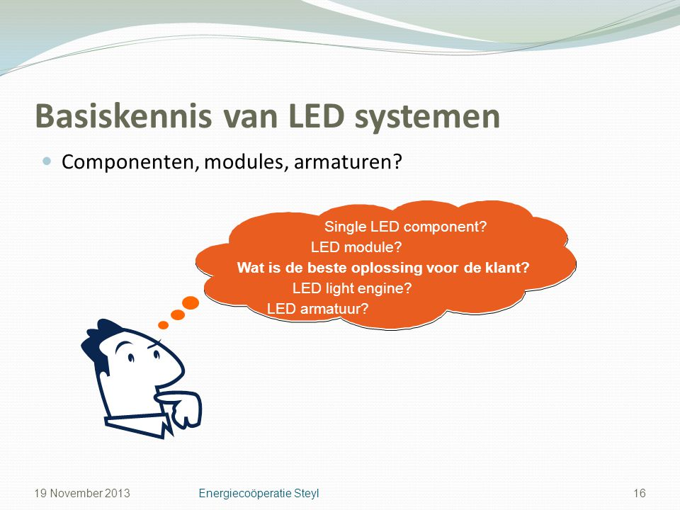 Basiskennis van LED systemen Componenten, modules, armaturen.