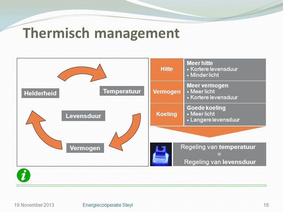 Thermisch management 18 Regeling van temperatuur = Regeling van levensduur Goede koeling  Meer licht  Langere levensduur Koeling Meer vermogen  Mee