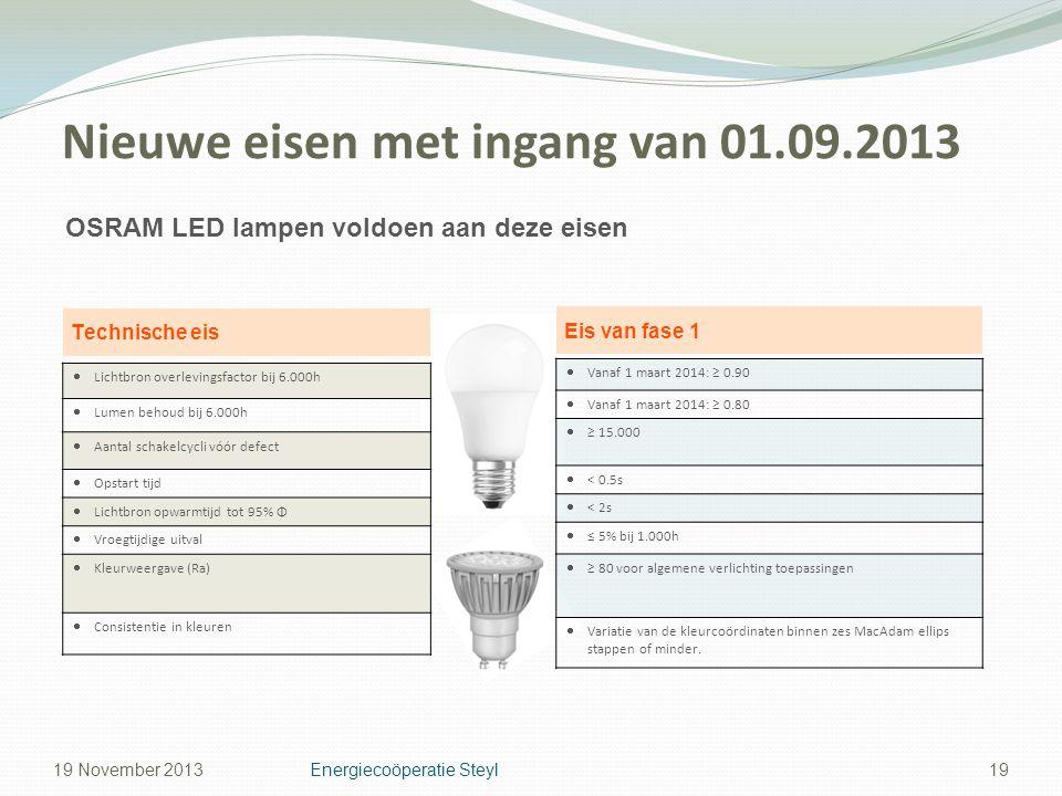 Nieuwe eisen met ingang van 01.09.2013 19 OSRAM LED lampen voldoen aan deze eisen Technische eis Eis van fase 1  Lichtbron overlevingsfactor bij 6.00