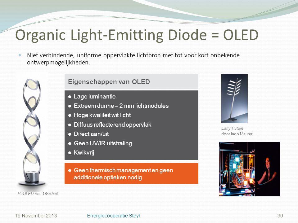 Organic Light-Emitting Diode = OLED Niet verbindende, uniforme oppervlakte lichtbron met tot voor kort onbekende ontwerpmogelijkheden. 30 Lage luminan