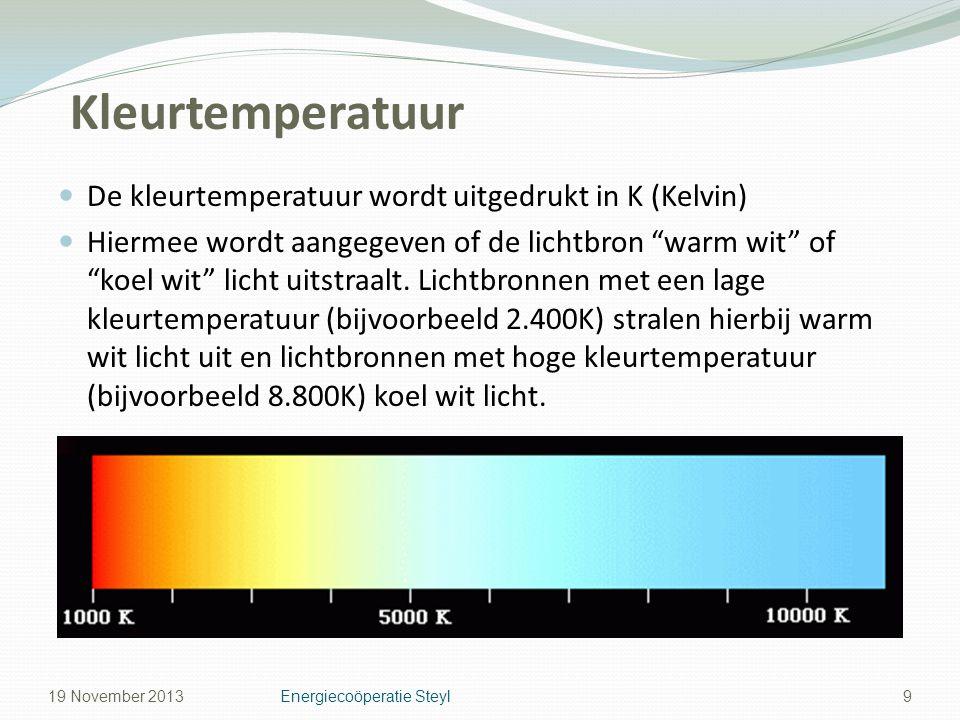 """Kleurtemperatuur De kleurtemperatuur wordt uitgedrukt in K (Kelvin) Hiermee wordt aangegeven of de lichtbron """"warm wit"""" of """"koel wit"""" licht uitstraalt"""