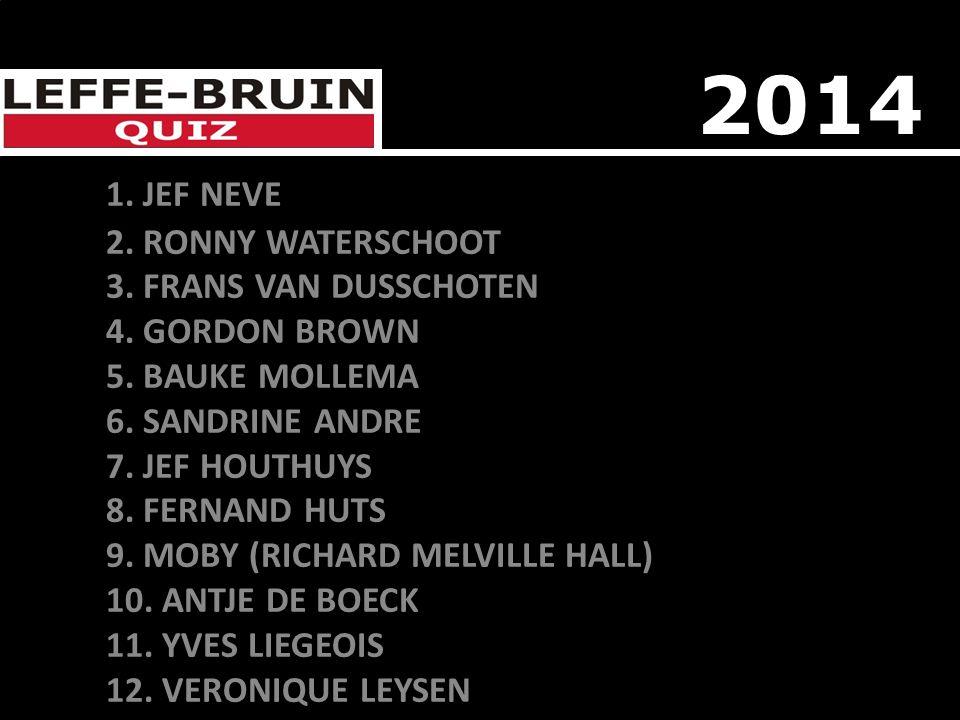 1. JEF NEVE 2. RONNY WATERSCHOOT 3. FRANS VAN DUSSCHOTEN 4. GORDON BROWN 5. BAUKE MOLLEMA 6. SANDRINE ANDRE 7. JEF HOUTHUYS 8. FERNAND HUTS 9. MOBY (R