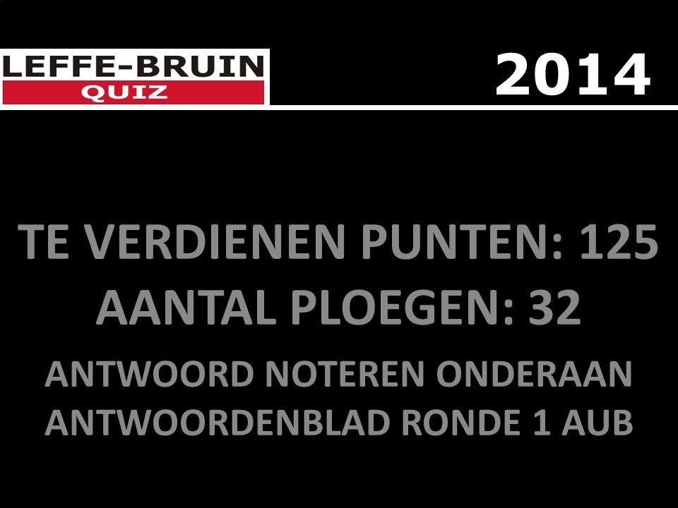 TE VERDIENEN PUNTEN: 125 AANTAL PLOEGEN: 32 ANTWOORD NOTEREN ONDERAAN ANTWOORDENBLAD RONDE 1 AUB 2014