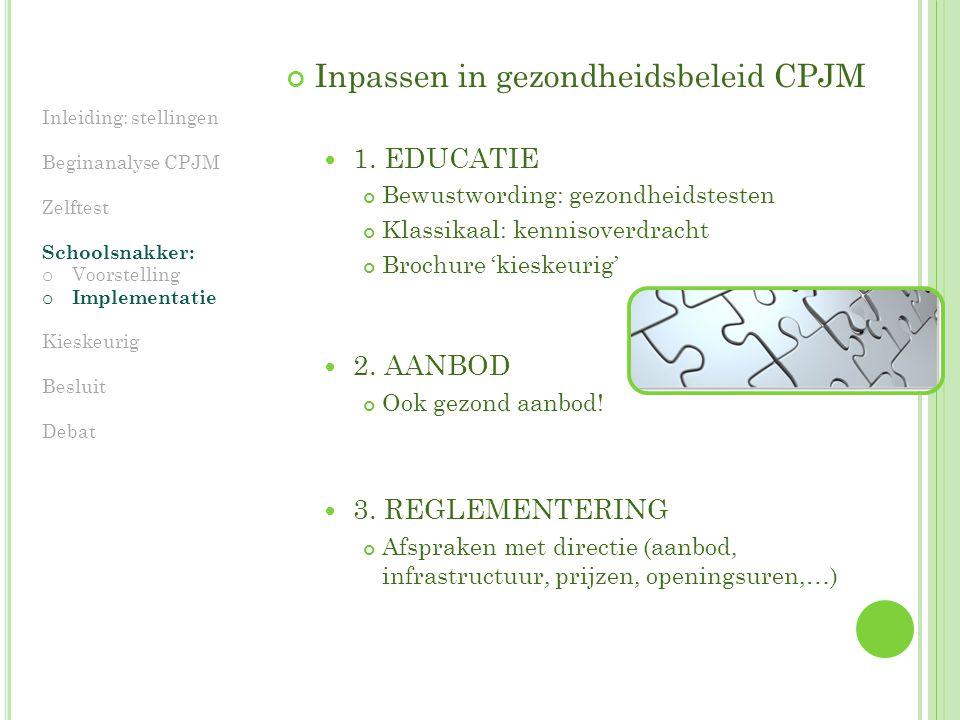 Inpassen in gezondheidsbeleid CPJM 1.