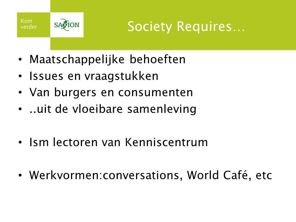 Society Requires… Maatschappelijke behoeften Issues en vraagstukken Van burgers en consumenten..uit de vloeibare samenleving Ism lectoren van Kennisce