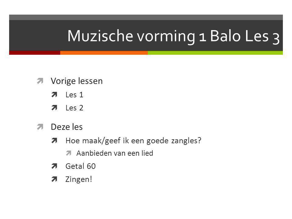 Muzische vorming 1 Balo Les 3  Vorige lessen  Les 1  Les 2  Deze les  Hoe maak/geef ik een goede zangles.