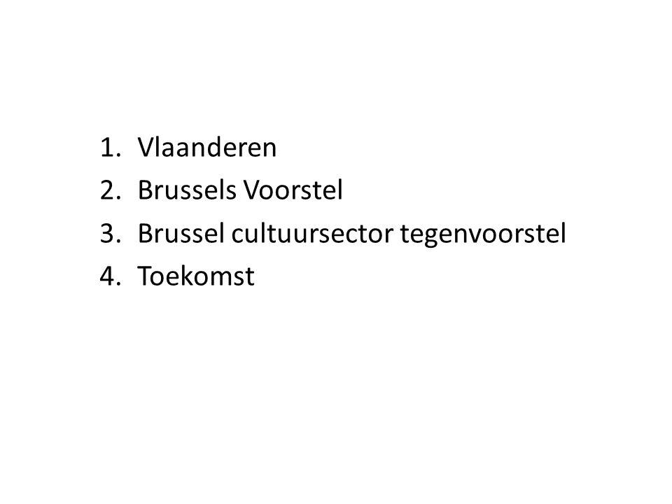 1.Vlaanderen 2.Brussels Voorstel 3.Brussel cultuursector tegenvoorstel 4.Toekomst