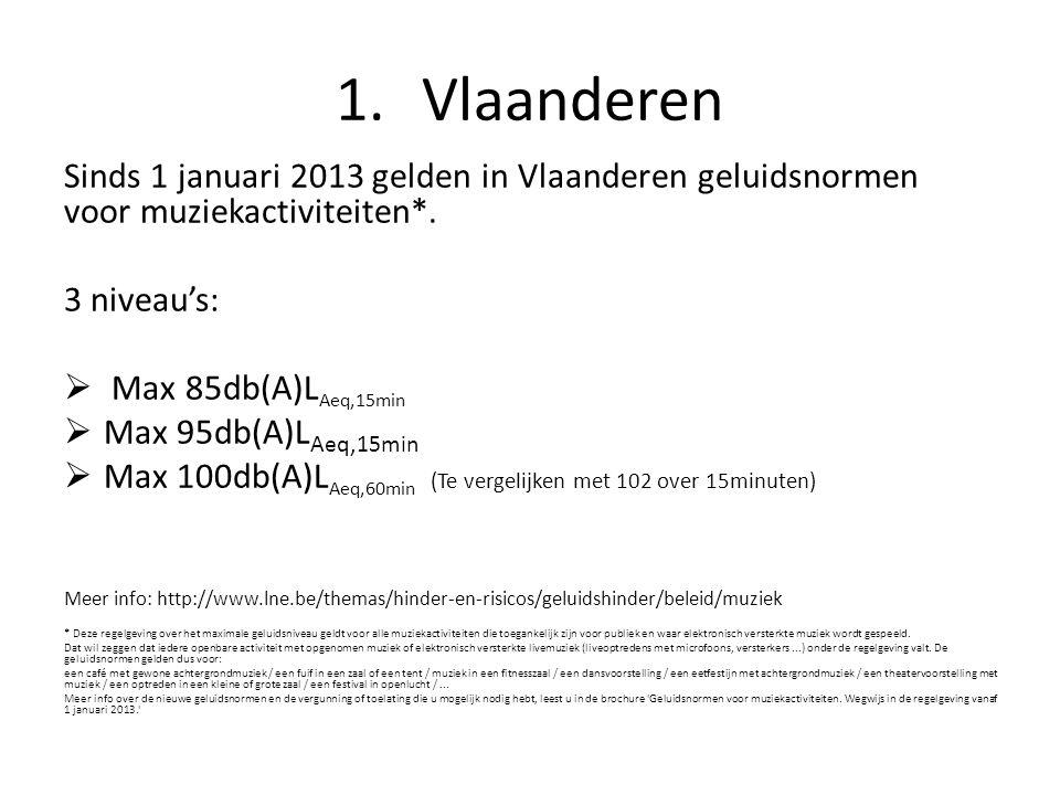 1.Vlaanderen Sinds 1 januari 2013 gelden in Vlaanderen geluidsnormen voor muziekactiviteiten*.