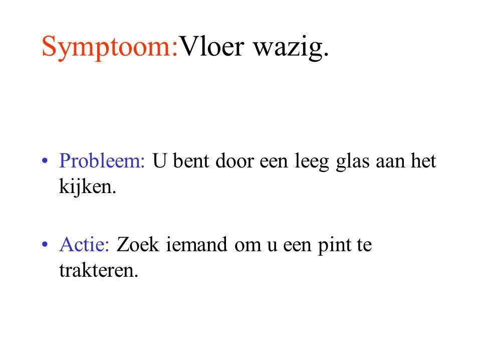 Symptoom:Vloer wazig.Probleem: U bent door een leeg glas aan het kijken.