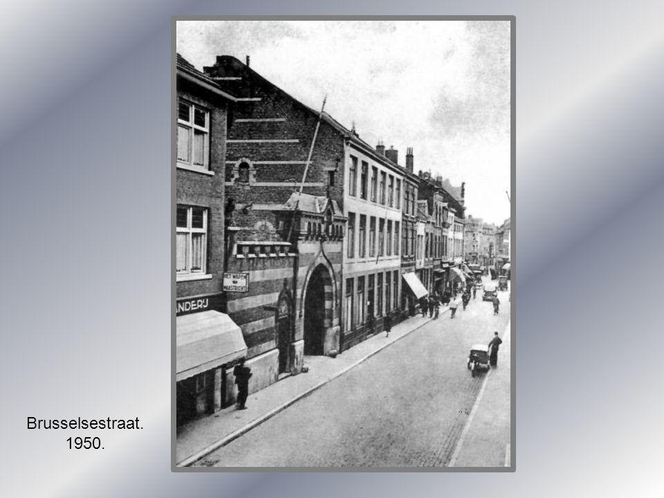 Ingang Brusselsepoort met stadswallen 1865.