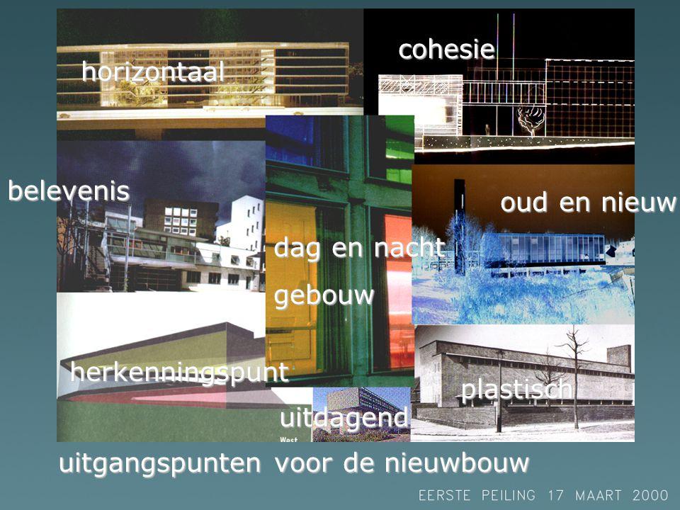 horizontaal belevenis dag en nacht gebouw cohesie oud en nieuw plastisch herkenningspunt uitdagend uitgangspunten voor de nieuwbouw