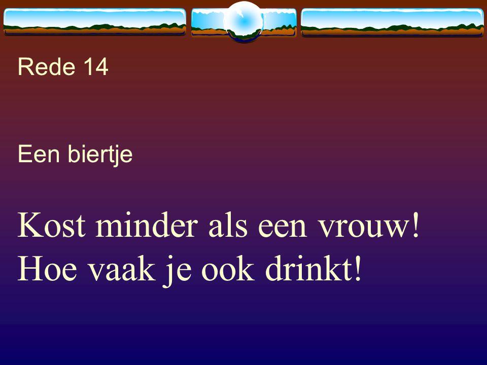 Rede 14 Een biertje Kost minder als een vrouw! Hoe vaak je ook drinkt!