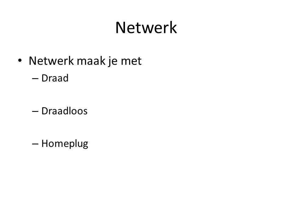 Netwerk Netwerk maak je met – Draad – Draadloos – Homeplug