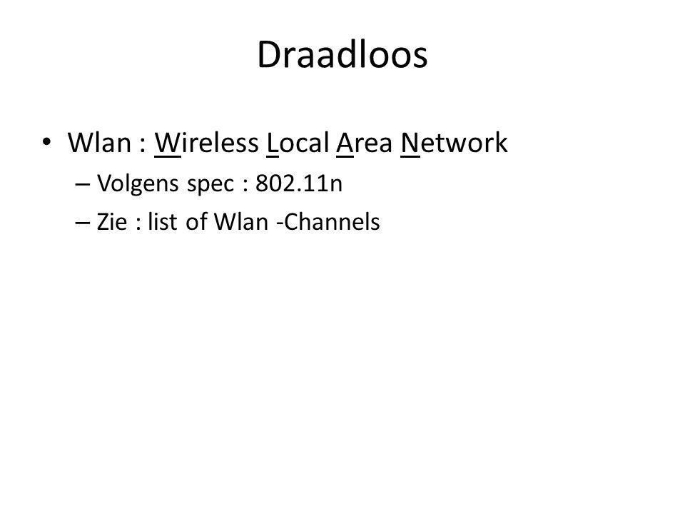 Draadloos Wlan : Wireless Local Area Network – Volgens spec : n – Zie : list of Wlan -Channels