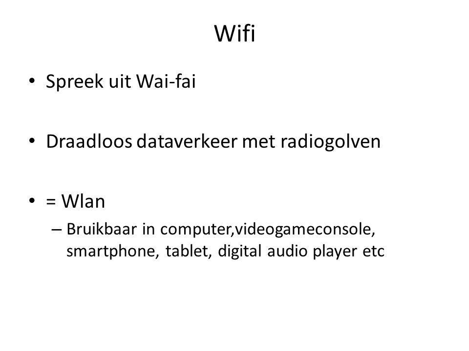 Wifi Spreek uit Wai-fai Draadloos dataverkeer met radiogolven = Wlan – Bruikbaar in computer,videogameconsole, smartphone, tablet, digital audio player etc