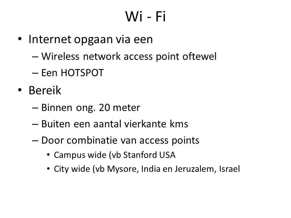 Wi - Fi Internet opgaan via een – Wireless network access point oftewel – Een HOTSPOT Bereik – Binnen ong.