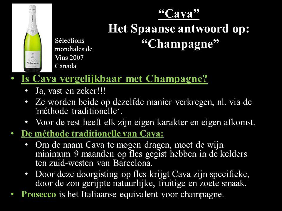 Cava Het Spaanse antwoord op: Champagne Is Cava vergelijkbaar met Champagne.