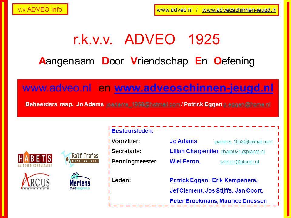 v.v ADVEO info www.adveo.nl / www.adveoschinnen-jeugd.nl FUTSAL 1 + 2 Nr.ClubW.P.Nr.ClubW.P.