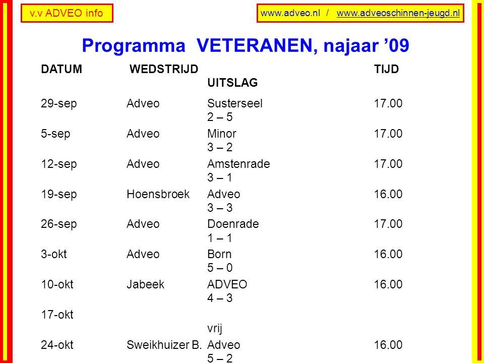 v.v ADVEO info www.adveo.nl / www.adveoschinnen-jeugd.nl DATUM WEDSTRIJD TIJD UITSLAG 29-sepAdveoSusterseel17.00 2 – 5 5-sepAdveo Minor17.00 3 – 2 12-sepAdveo Amstenrade17.00 3 – 1 19-sepHoensbroek Adveo16.00 3 – 3 26-sepAdveoDoenrade17.00 1 – 1 3-oktAdveoBorn16.00 5 – 0 10-oktJabeekADVEO16.00 4 – 3 17-okt vrij 24-oktSweikhuizer B.