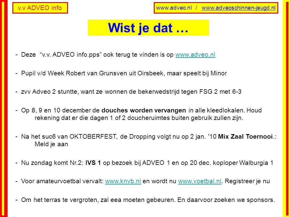 v.v ADVEO info www.adveo.nl / www.adveoschinnen-jeugd.nl Zondag 20 decLaatste speeldag voor Winterstop, INHAAL Za.