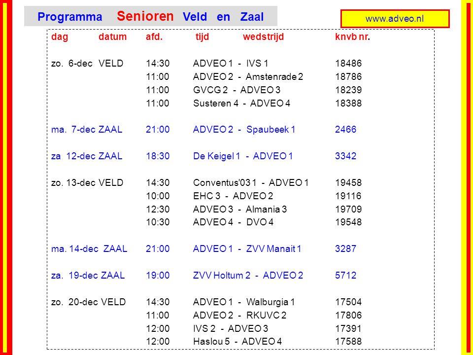 www.adveo.nl dag datumafd. tijd wedstrijd knvb nr. zo. 6-decVELD 14:30ADVEO 1 - IVS 118486 11:00ADVEO 2 - Amstenrade 218786 11:00GVCG 2 - ADVEO 318239