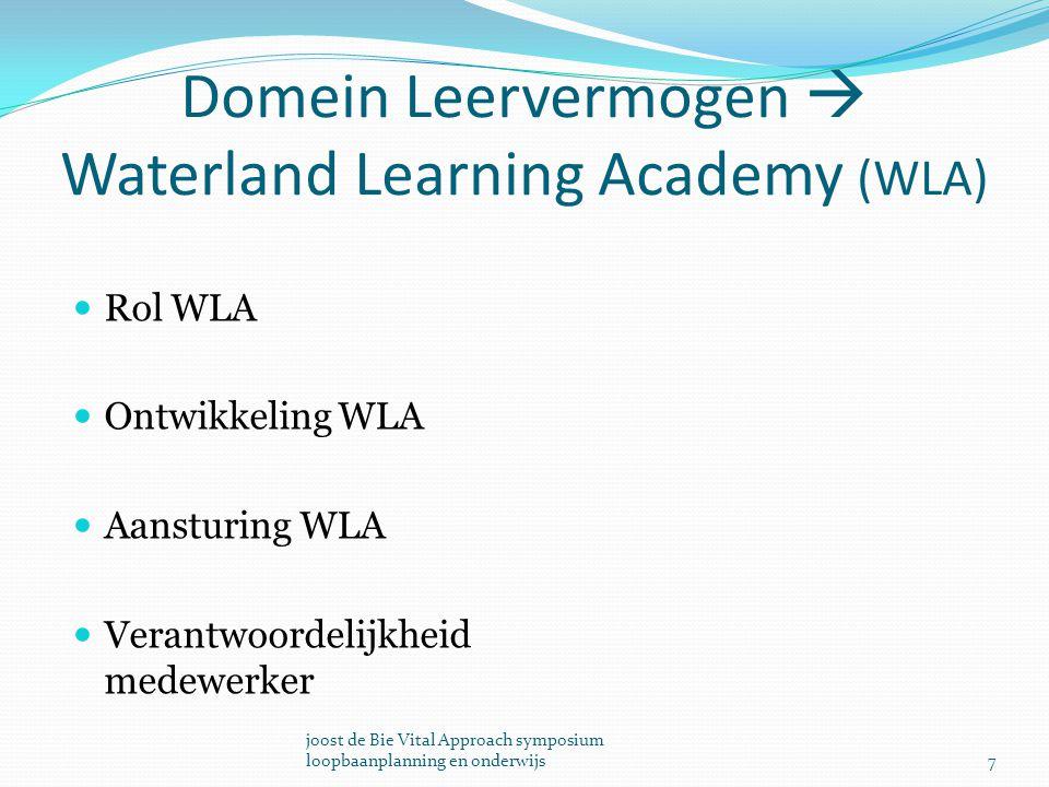 Domein Leervermogen  Waterland Learning Academy (WLA) Rol WLA Ontwikkeling WLA Aansturing WLA Verantwoordelijkheid medewerker 7 joost de Bie Vital Ap
