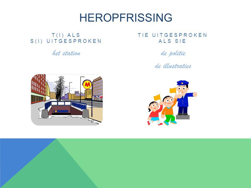 HEROPFRISSING T(I) ALS S(I) UITGESPROKEN het station TIE UITGESPROKEN ALS SIE de politie de illustraties