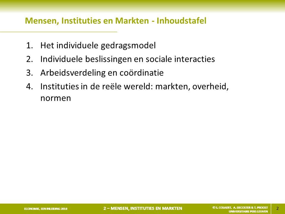 2 ECONOMIE, EEN INLEIDING 2013 2 – MENSEN, INSTITUTIES EN MARKTEN © S. COSAERT, A. DECOSTER & T. PROOST UNIVERSITAIRE PERS LEUVEN 2 ECONOMIE, EEN INLE