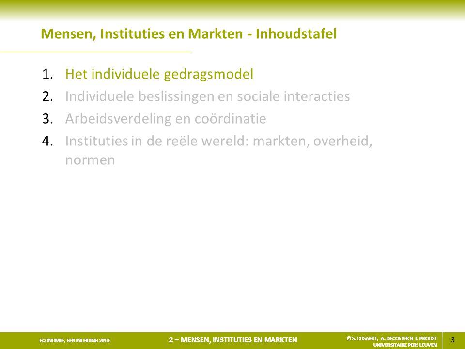 3 ECONOMIE, EEN INLEIDING 2013 2 – MENSEN, INSTITUTIES EN MARKTEN © S. COSAERT, A. DECOSTER & T. PROOST UNIVERSITAIRE PERS LEUVEN 3 ECONOMIE, EEN INLE