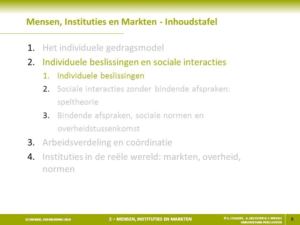 19 ECONOMIE, EEN INLEIDING 2013 2 – MENSEN, INSTITUTIES EN MARKTEN © S.