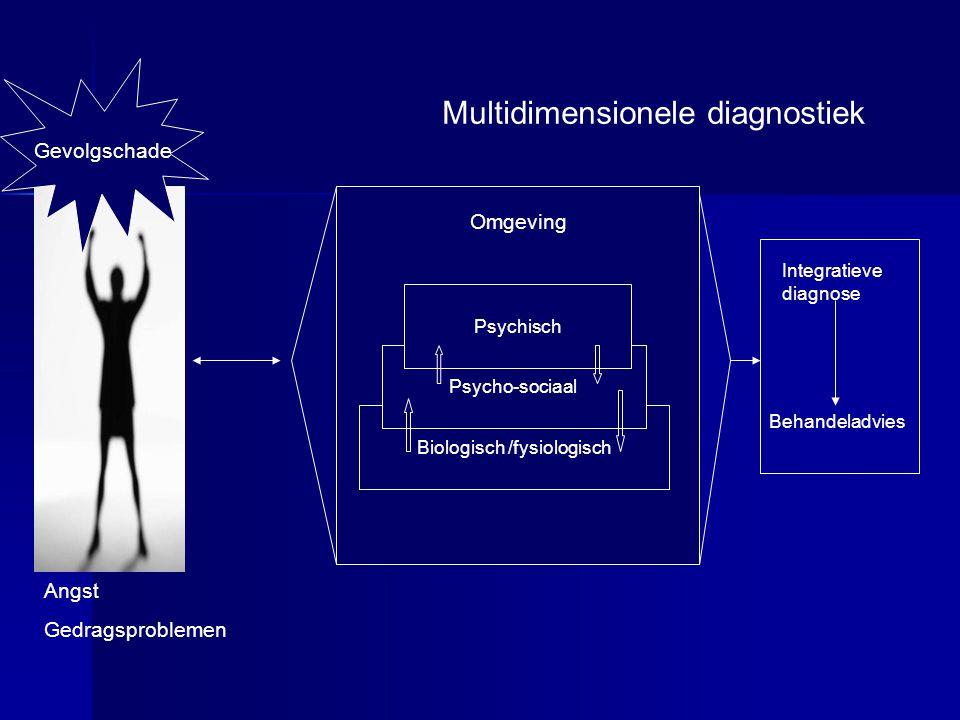 Gevolgschade Biologisch /fysiologisch Psycho-sociaal Psychisch Multidimensionele diagnostiek Omgeving Angst Gedragsproblemen Integratieve diagnose Beh