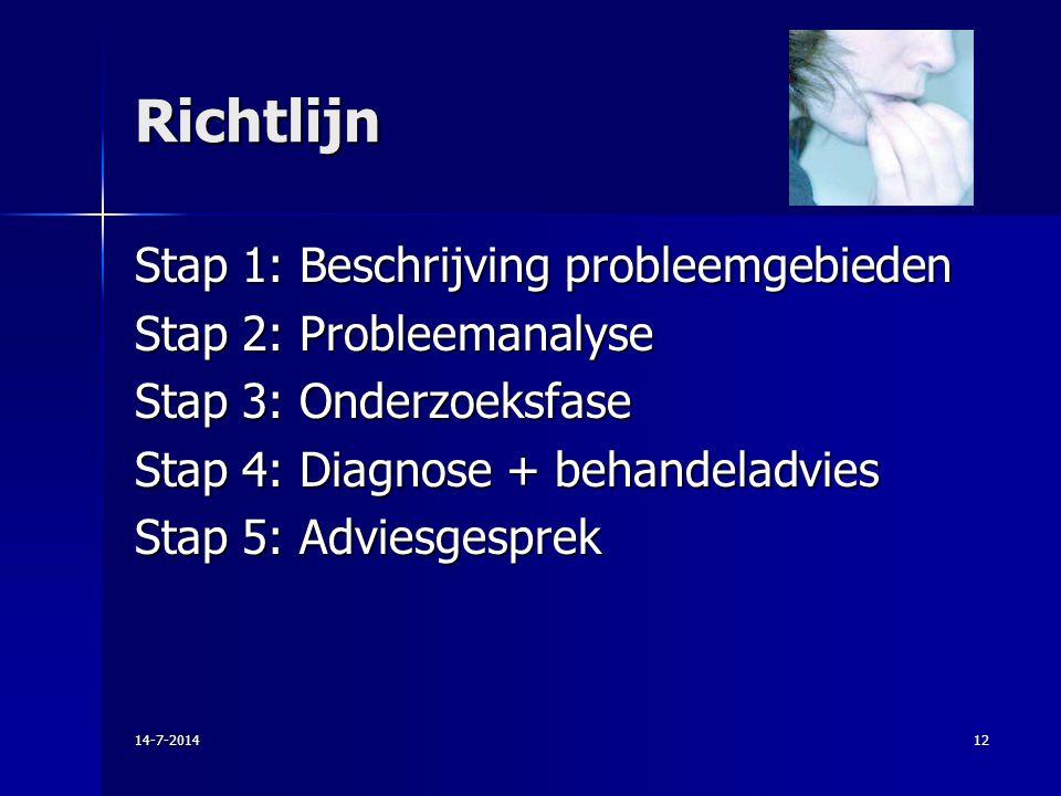 Richtlijn Stap 1: Beschrijving probleemgebieden Stap 2: Probleemanalyse Stap 3: Onderzoeksfase Stap 4: Diagnose + behandeladvies Stap 5: Adviesgesprek