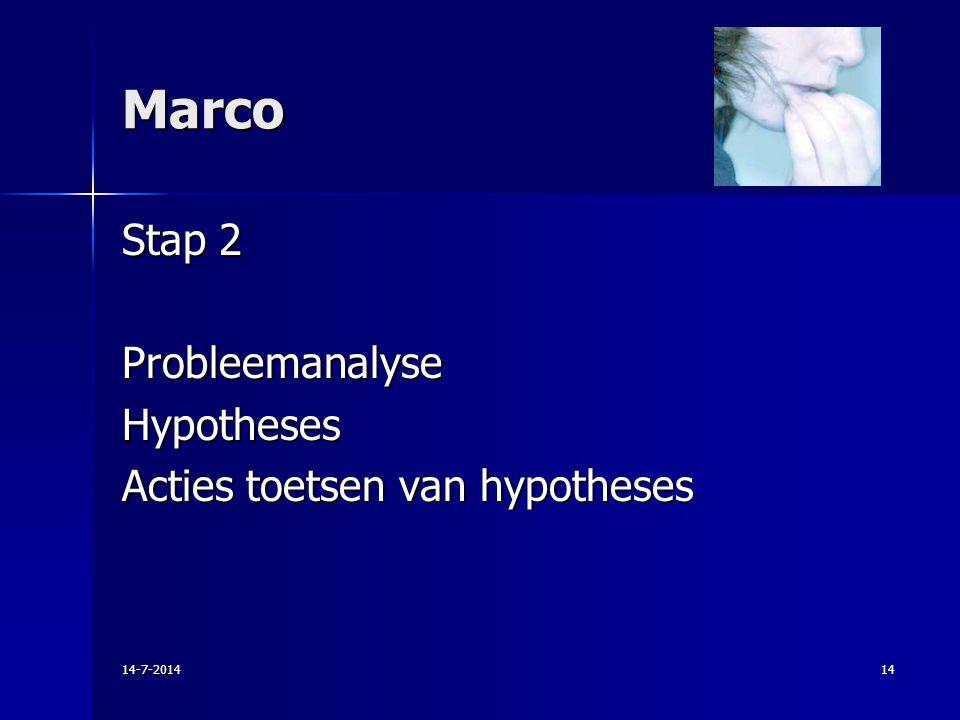 Marco Stap 2 ProbleemanalyseHypotheses Acties toetsen van hypotheses 14-7-201414