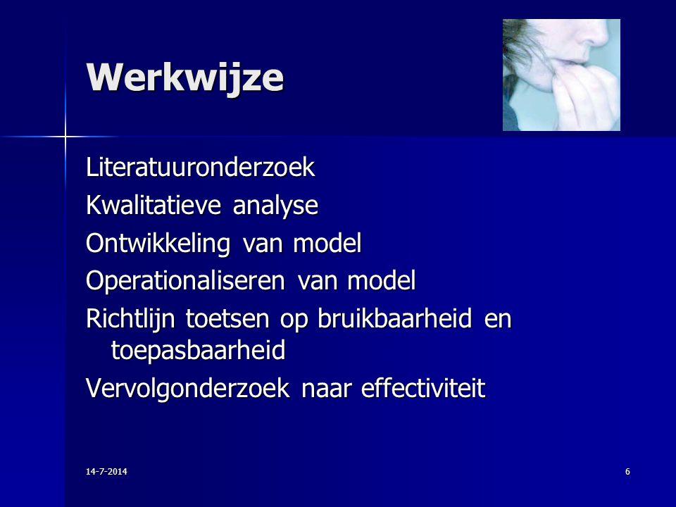 Werkwijze Literatuuronderzoek Kwalitatieve analyse Ontwikkeling van model Operationaliseren van model Richtlijn toetsen op bruikbaarheid en toepasbaar