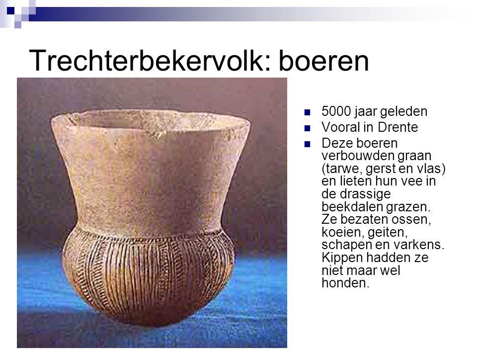 Trechterbekervolk: boeren 5000 jaar geleden Vooral in Drente Deze boeren verbouwden graan (tarwe, gerst en vlas) en lieten hun vee in de drassige beek