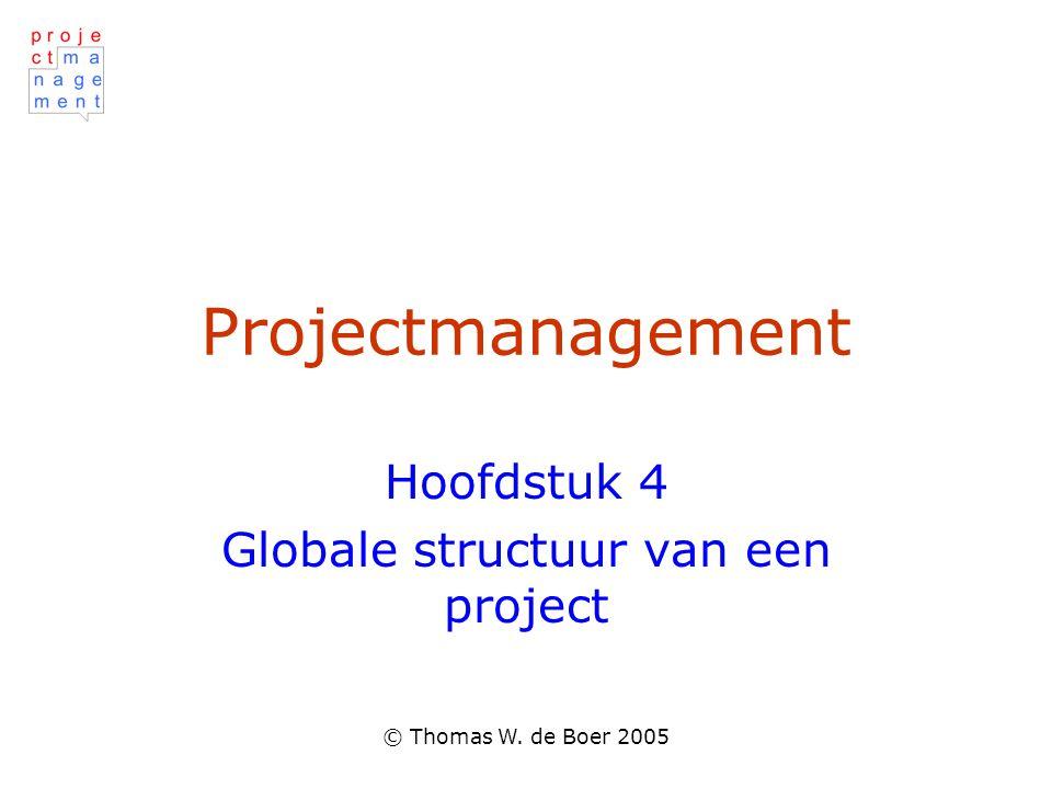 © Thomas W. de Boer 2005 Projectmanagement Hoofdstuk 4 Globale structuur van een project