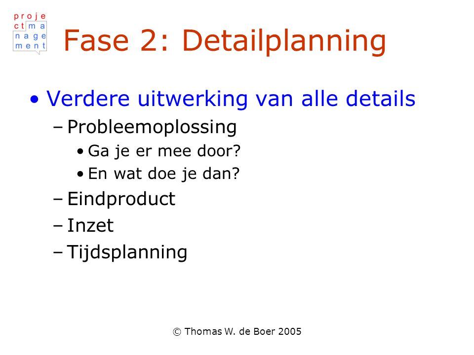 © Thomas W. de Boer 2005 Fase 2: Detailplanning Verdere uitwerking van alle details –Probleemoplossing Ga je er mee door? En wat doe je dan? –Eindprod