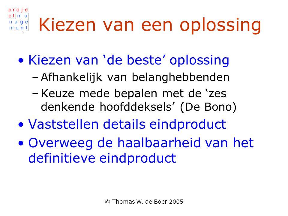 © Thomas W. de Boer 2005 Kiezen van een oplossing Kiezen van 'de beste' oplossing –Afhankelijk van belanghebbenden –Keuze mede bepalen met de 'zes den