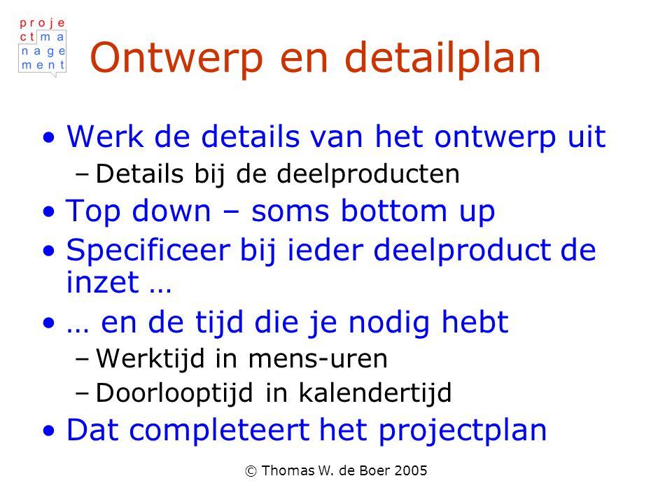 © Thomas W. de Boer 2005 Ontwerp en detailplan Werk de details van het ontwerp uit –Details bij de deelproducten Top down – soms bottom up Specificeer