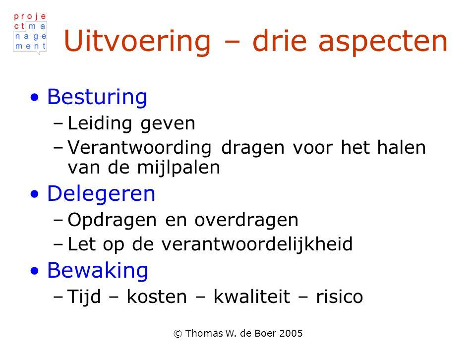 © Thomas W. de Boer 2005 Uitvoering – drie aspecten Besturing –Leiding geven –Verantwoording dragen voor het halen van de mijlpalen Delegeren –Opdrage