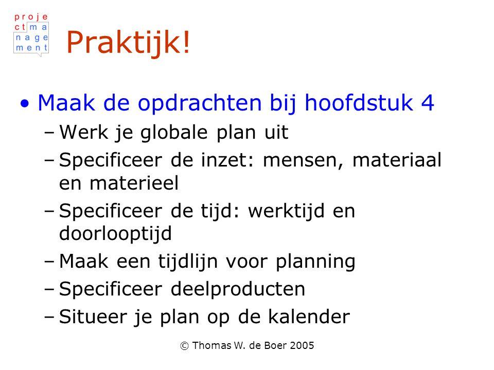 © Thomas W. de Boer 2005 Praktijk! Maak de opdrachten bij hoofdstuk 4 –Werk je globale plan uit –Specificeer de inzet: mensen, materiaal en materieel