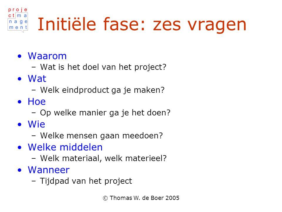 © Thomas W. de Boer 2005 Initiële fase: zes vragen Waarom –Wat is het doel van het project? Wat –Welk eindproduct ga je maken? Hoe –Op welke manier ga