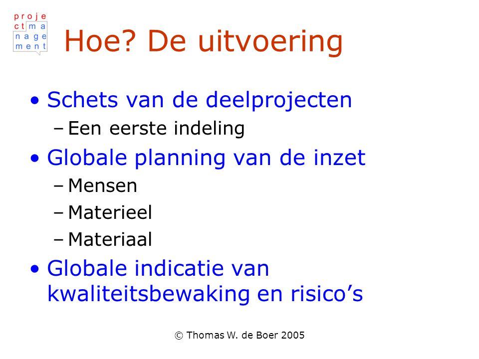 © Thomas W. de Boer 2005 Hoe? De uitvoering Schets van de deelprojecten –Een eerste indeling Globale planning van de inzet –Mensen –Materieel –Materia